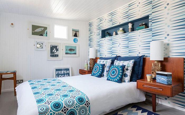 Обои в интерьере спальни в скандинаском стиле
