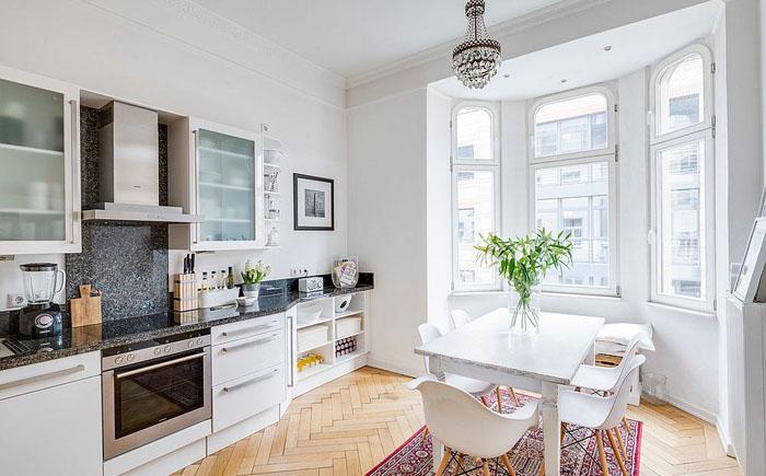 Кухня в скандинавском стиле в белых тонах