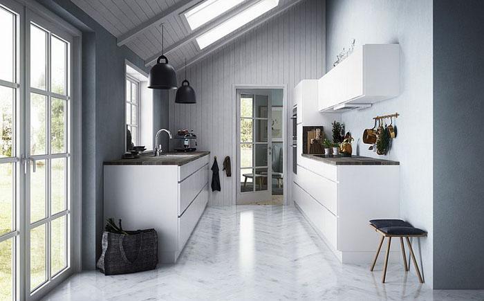 Серые оттенки в интерьере кухни от Kvik Denmark