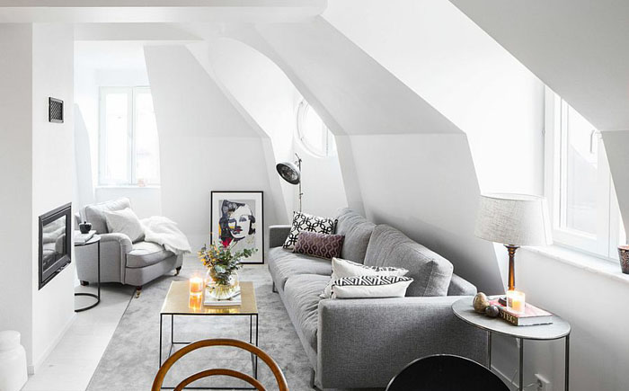 Стильная гостиная в скандинавском стиле от Philippe Demougeot