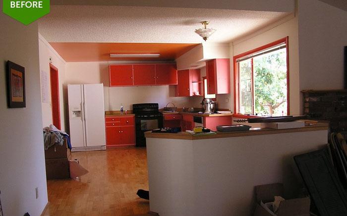 Кухня и гостиная до реконструкции