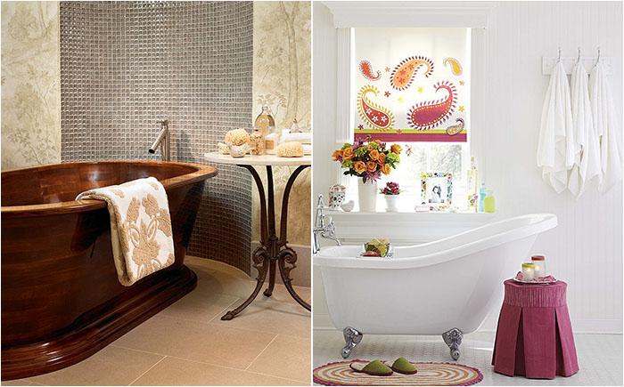 Немного роскоши: 30 потрясающих приставных столиков в ванных комнатах