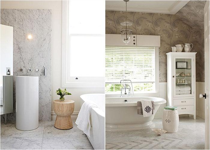 Дереянный и керамический столик в ванной