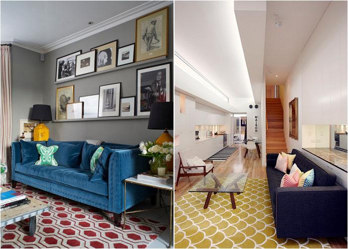 Диван в гостиной в скандинавском и переходном стилях