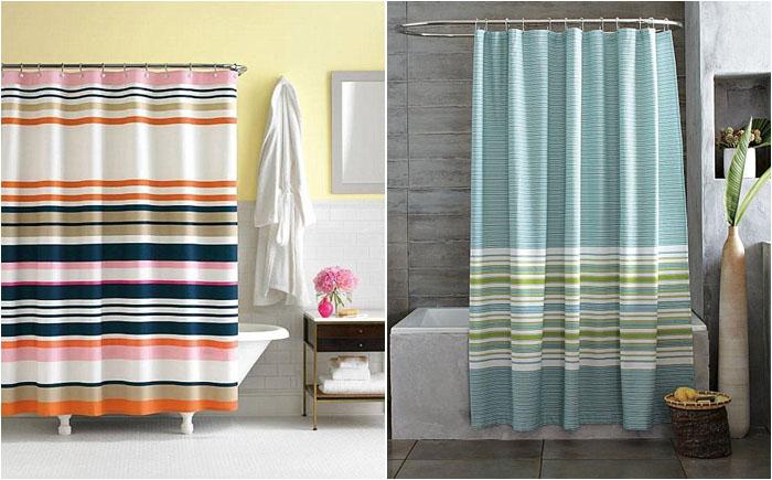 Полосатые шторки в ванной