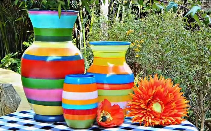 Красочная осень в интерьере: яркие вазы своими руками