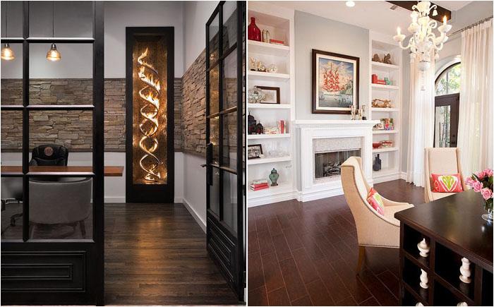 30 роскошных идей оформления домашнего офиса с камином