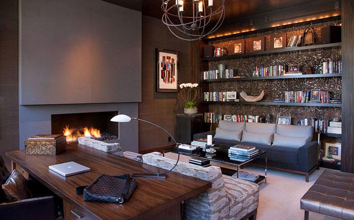 Стильный домашний офис с камином