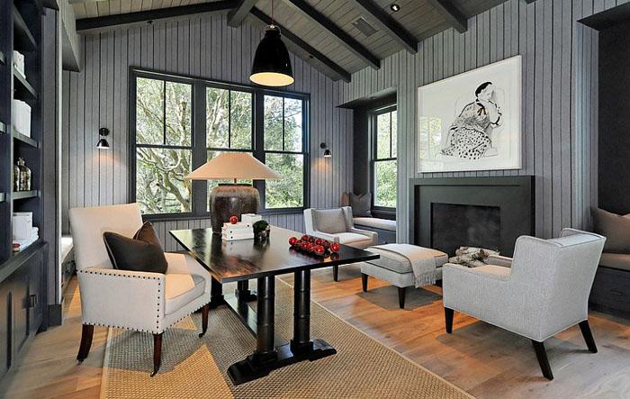 Домашний офис в серых тонах