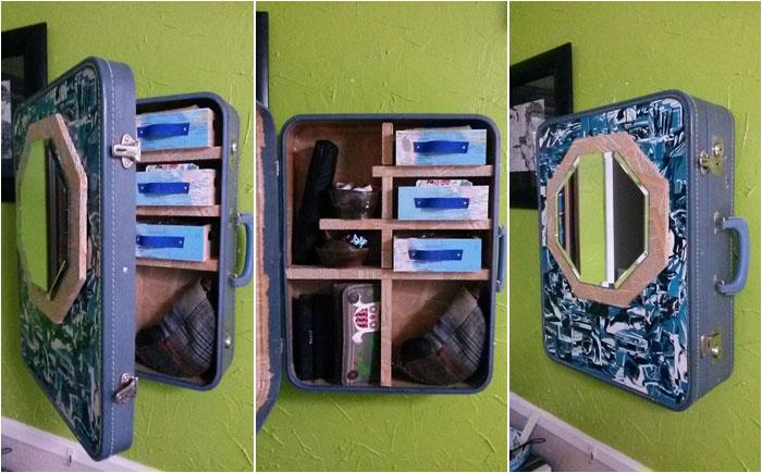 Новое использование старого чемодана: стильный шкафчик своими руками