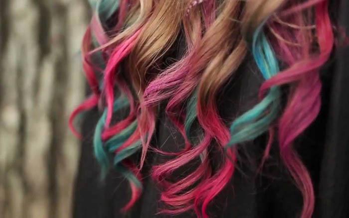 Разноцветные кончики волос