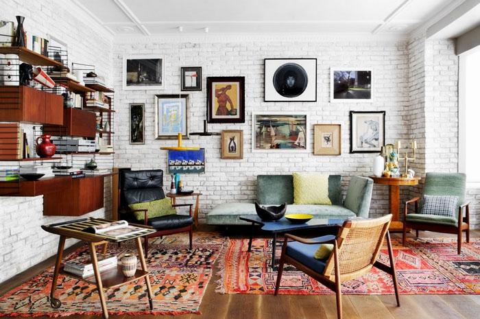 Интерьер гостиной в эклектичном стиле