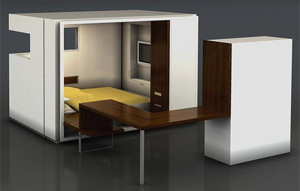 Простая и изящная спальня-трансформер в коробке