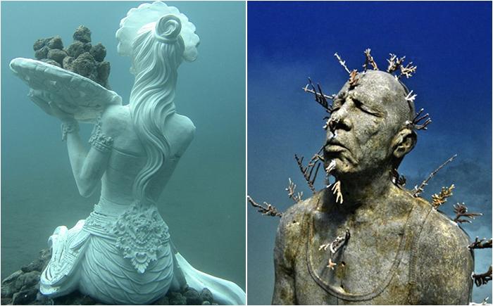 10 неимоверных скульптур и статуй в подводном царстве