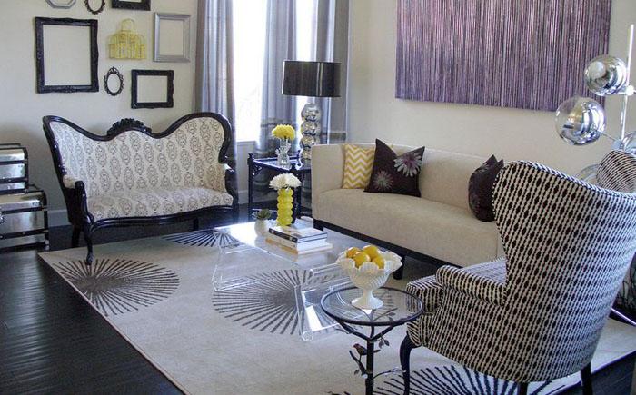 Чёрно-белая мебель в викторианском стиле