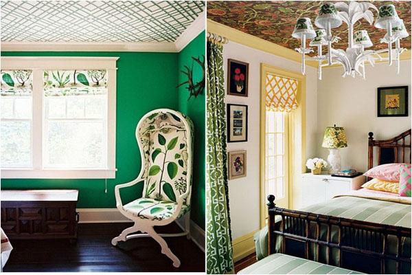 Потолки в спальне с яркими обоями
