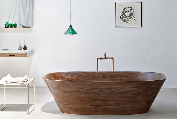 Деревянная ванна из грецкого ореха Shell от Nina Mair Architecture + Design