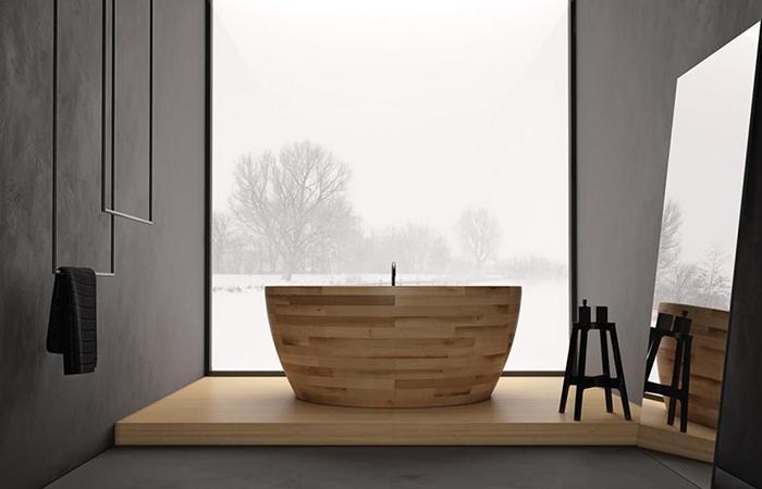 Круглая деревянная ванна от Unique Wood Design