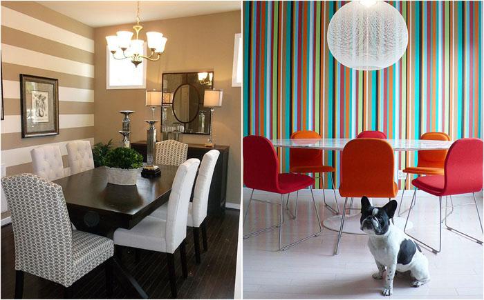 Разноцветный мир: 10 потрясающих столовых с полосатыми акцентными стенами