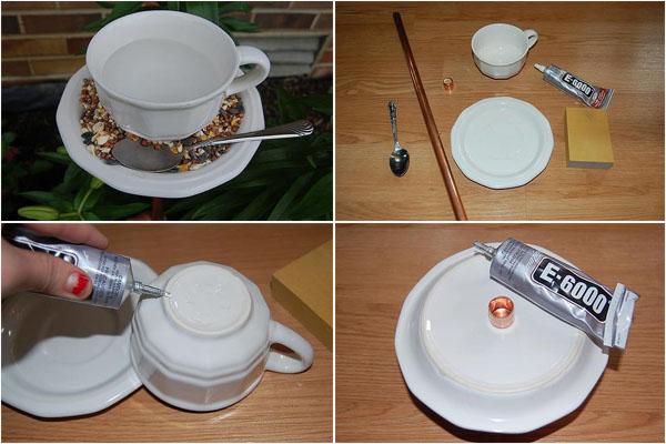 Изящная форфоровая кормушка из чайного сервиза