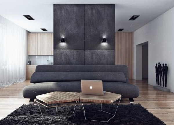 Строгие, четкие линии великолепно сочетаются с округлыми формами мягкой  мебели