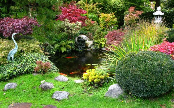 Японский сад с каменным фонарём и фигуркой цапли на берегу.