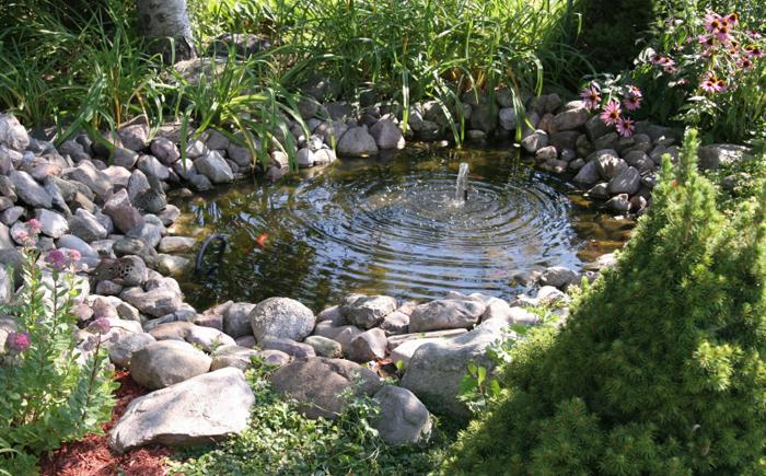 Маленький пруд с фонтаном