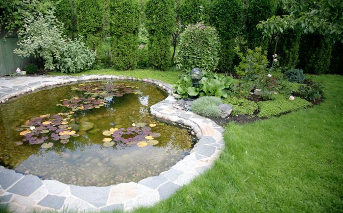 Большой пруд на заднем дворе вымощен плитами, которые образуют патио.