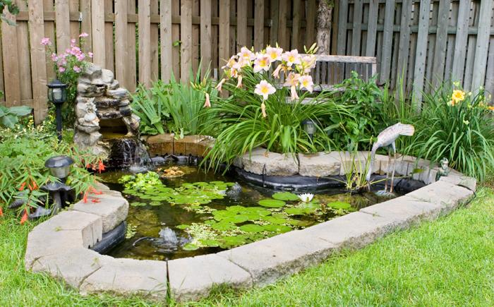 Простой водоём с маленьким фонтаном