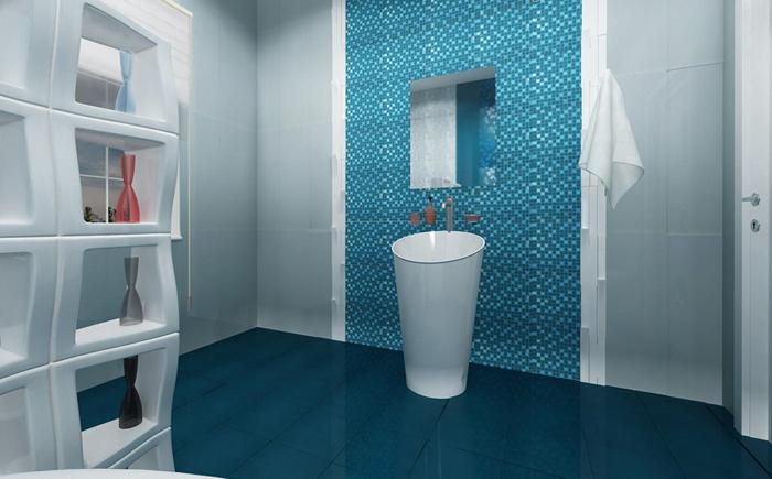 Бирюзовый пол в ванной