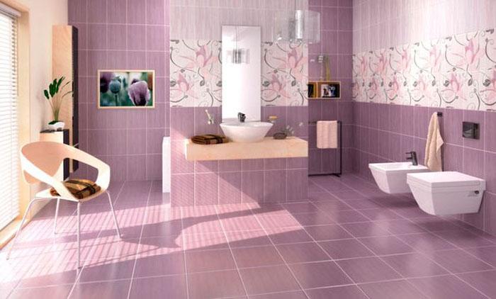 Сиреневый пол в ванной