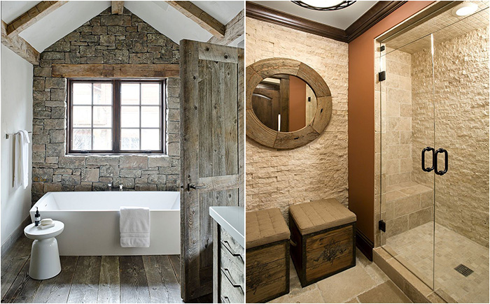 Ванная и душевая с каменными стенами