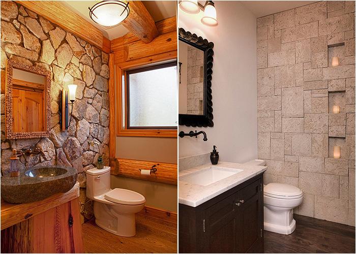 Ванные комнаты с каменными стенами