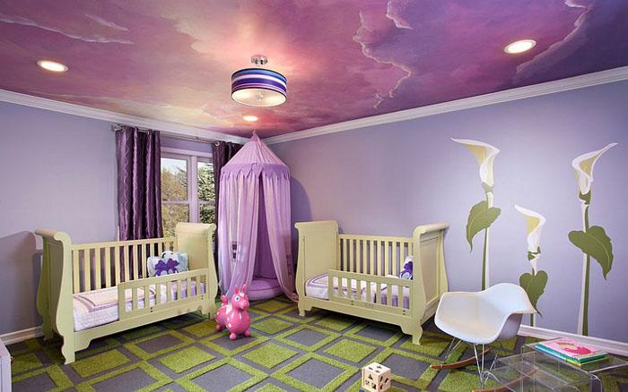Сиреневый потолок для девочки от Emc2 Interiors