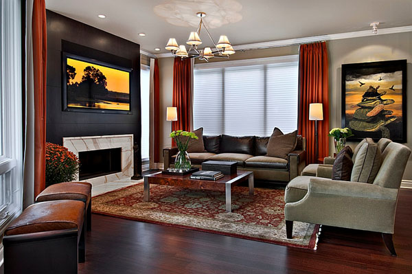 Чёрная акцентная стена от  AMW Design Studio