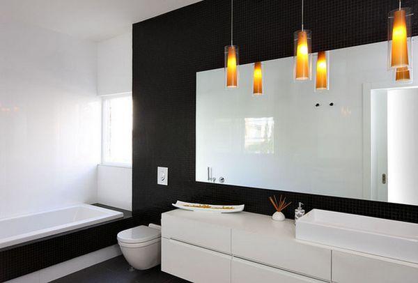 Чёрная плитка в ванной комнате