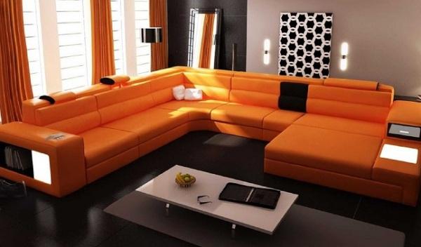 Дизайн к оранжевому дивану фото
