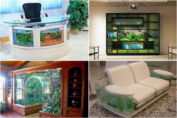 Живой уголок дома и в офисе: ТОП-10 встроенных аквариумов
