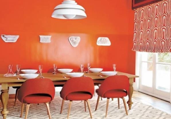 Яркие оранжевые стены