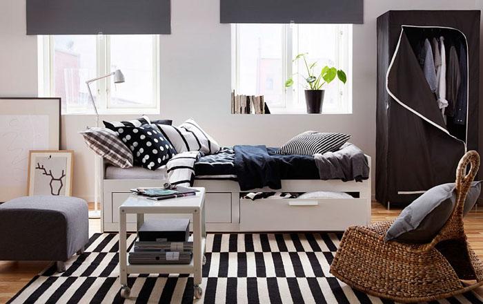 Спальня в скандинавском стиле со шкафом BREIM