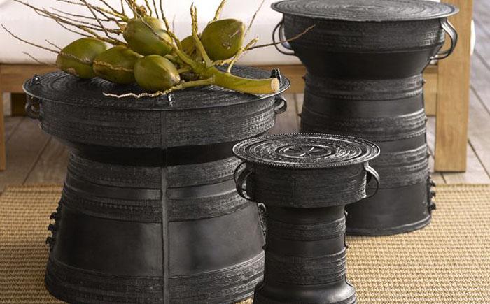 Оригинальные кофейные столики-барабаны