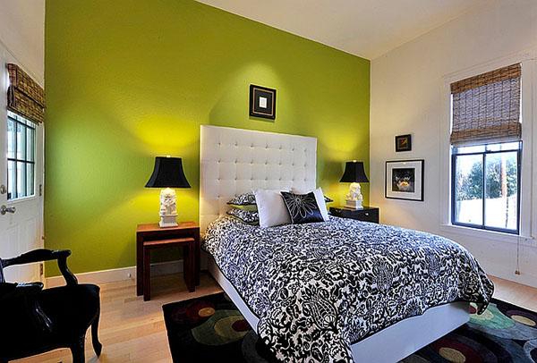 Чёрно белая спальня интерьер