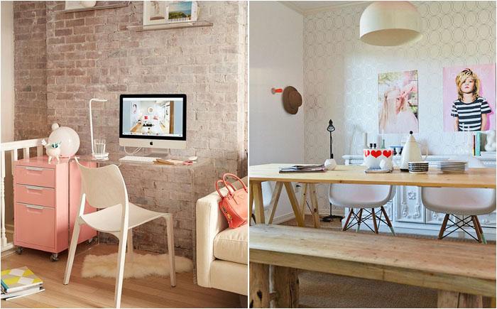 Домашний офис в пастельных тонах