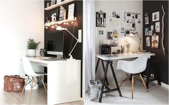 Домашний офис в чёрно-белых тонах