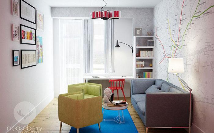 Домашний офис с акцентной стеной в виде карты от Mooseberry Design