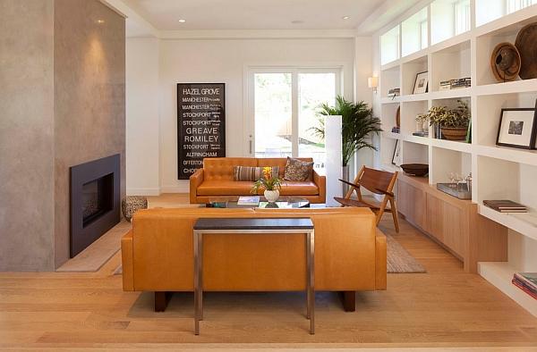 Винтажный кожаный диван горчичного цвета