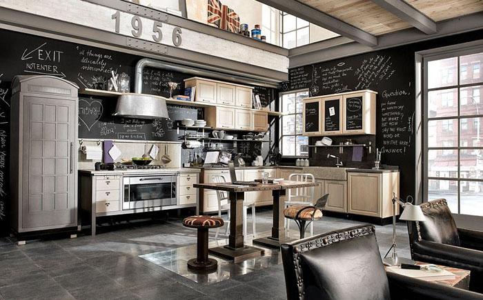 Винтажная кухня в индустриальном стиле от Marchi