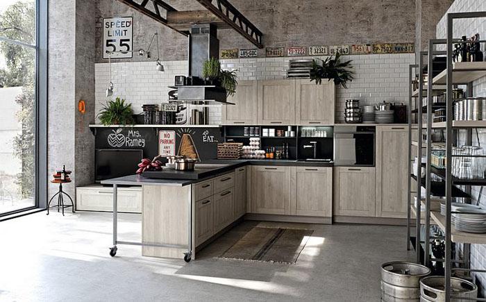 Просторная кухня в индустриальном стиле от Stosa Cucine