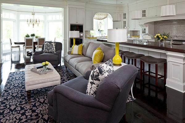 Интерьер кухни гостиной в сером цвете