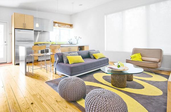 Элегантная гостиная в серо-жёлтых тонах